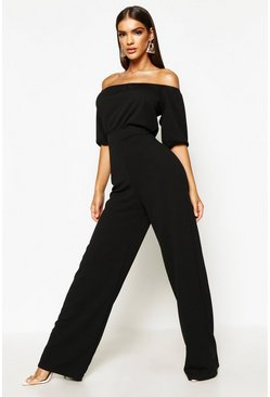 Womens Black Bardot Volume Sleeve Wide Leg Jumpsuit