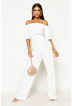 White Bardot Volume Sleeve Wide Leg Jumpsuit