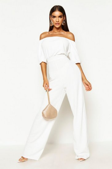 Womens White Bardot Volume Sleeve Wide Leg Jumpsuit