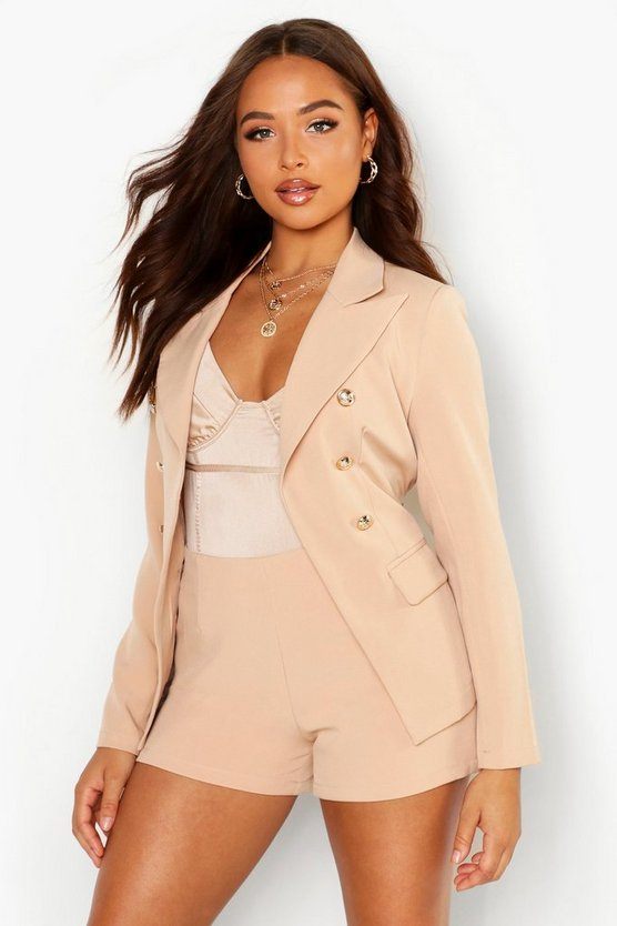 Stone Belted Tailored Blazer