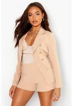 Womens Stone Belted Tailored Blazer