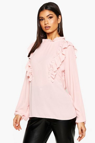 Womens Blush Ruffle Detail Blouse