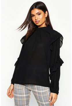 Womens Black High Neck Ruffle Sleeve Blouse