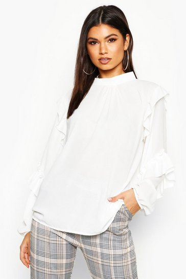 Womens White High Neck Ruffle Sleeve Blouse