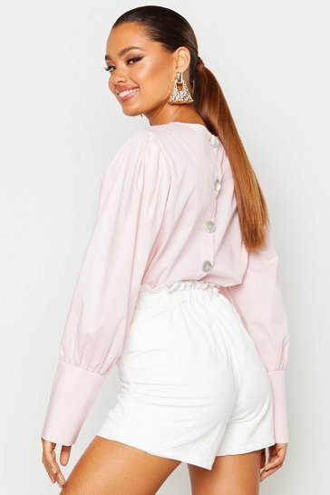Womens Blush Button Back Balloon Sleeve Blouse