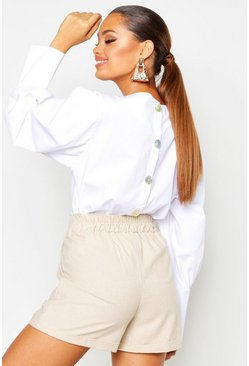 Womens White Button Back Balloon Sleeve Blouse