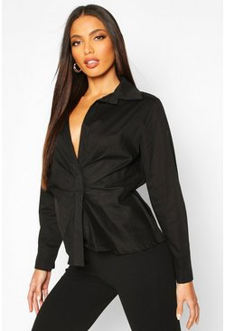 Womens Black Ruched Front Detail Shirt