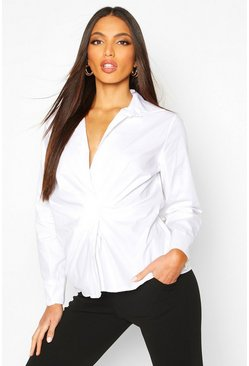 Womens White Ruched Front Detail Shirt