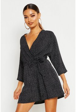 Womens Black Polka Dot Belted Playsuit