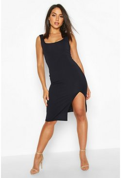 Womens Navy Square Neck Midi Dress