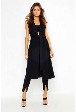 Womens Black Belted Sleeveless Duster
