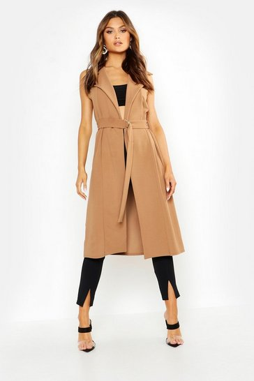 Womens Camel Belted Sleeveless Duster