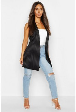 Womens Black Pinstripe Sleeveless Belted Duster