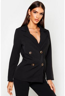 Womens Black Double Breasted Blazer