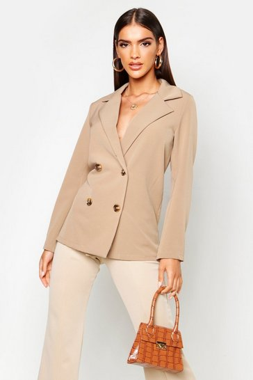 Womens Stone Double Breasted Blazer