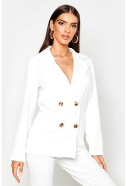 Womens White Double Breasted Blazer