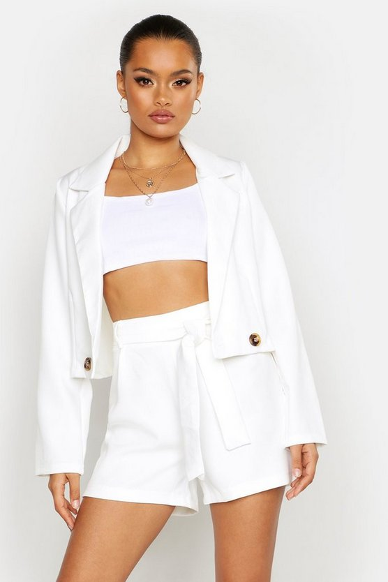 Womens White Cropped Blazer