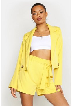 Womens Yellow Cropped Blazer
