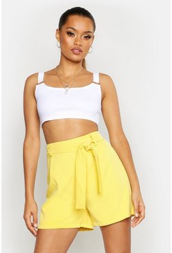 Womens Yellow Belted Tailored Short