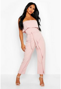 Womens Blush Bardot Belted Jumpsuit