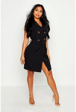 Womens Black Sleeveless Double Breasted Belted Blazer Dress
