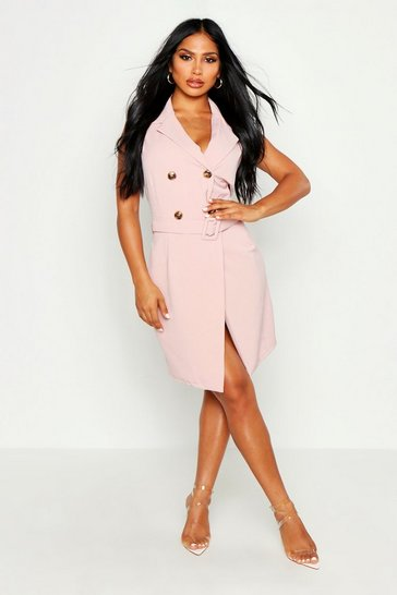 Womens Blush Sleeveless Double Breasted Belted Blazer Dress