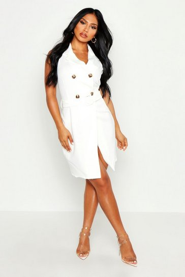 Womens White Sleeveless Double Breasted Belted Blazer Dress
