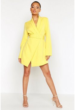 Womens Yellow Belted Blazer Dress