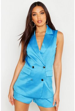 Womens Cobalt Sleeveless Blazer