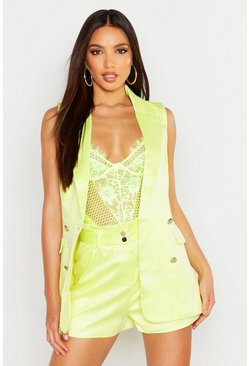 Womens Lime Belted Tailored Shorts