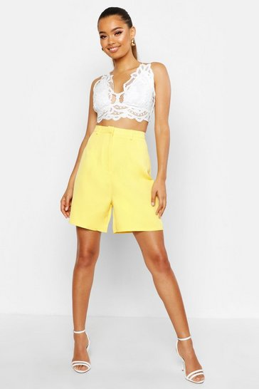 Womens Yellow Tailored City Short