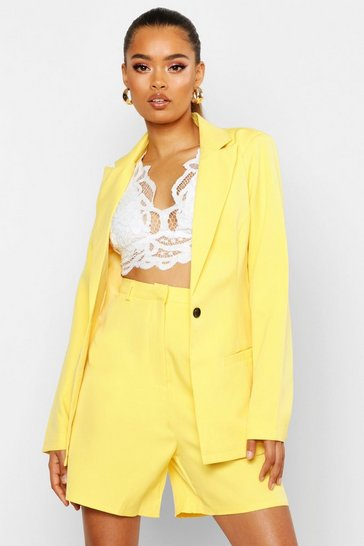 Womens Yellow Single Breasted Tailored Blazer