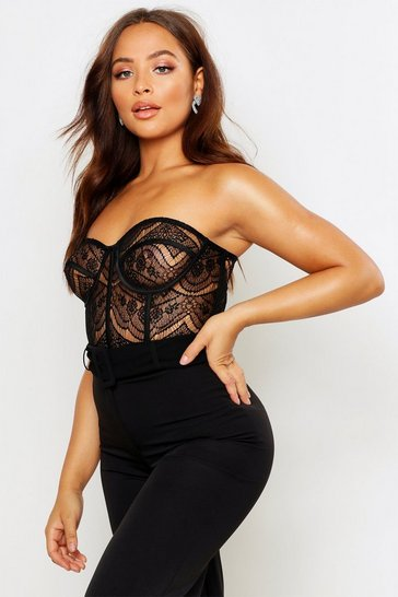 Womens Black Lace Panelled Bustier Bandeau Bodysuit