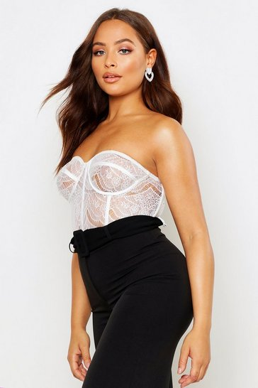 Womens White Lace Panelled Bustier Bandeau Bodysuit