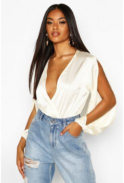 Ivory Satin Split Sleeve Wrap Bodysuit