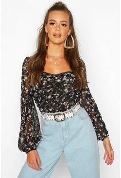 Dam Black Woven Floral Crop Top Blouse