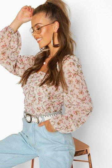 38dcb3d8c0648 Woven Floral Crop Top Blouse