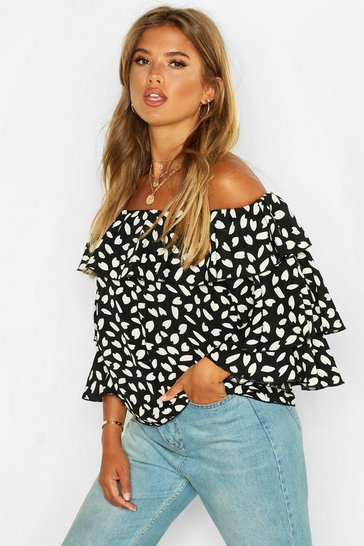 Womens Black Woven Printed Off The Shoulder Ruffle Top
