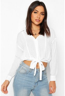 Womens White Woven Textured Tie Front Shirt