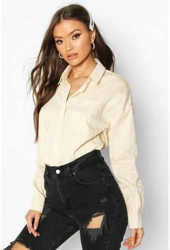 Womens Nude Woven Striped Shirt