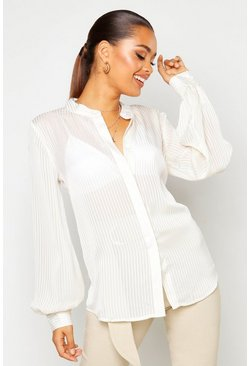 Womens White Satin Stripe Shirt
