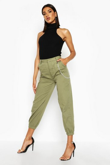Womens Khaki Cargo Chain Detail Trousers
