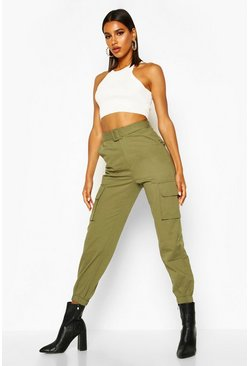 Womens Khaki Self Belted Pocket Side Cargo Trousers