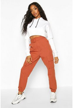 Terracotta Self Belted Pocket Side Cargo Pants