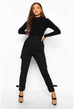 Womens Black Buckle Ankle Pocket Side Cargo Trousers