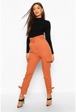 Rust Buckle Ankle Pocket Side Cargo Pants