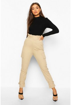 Sand Buckle Ankle Pocket Side Cargo Trousers