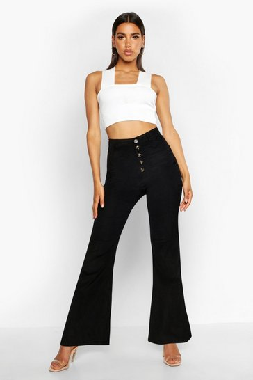 Womens Black Button Front Cord Flares