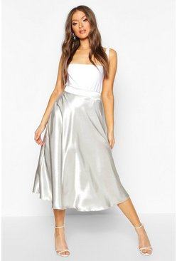 Womens Oyster Satin Full Midi Skirt