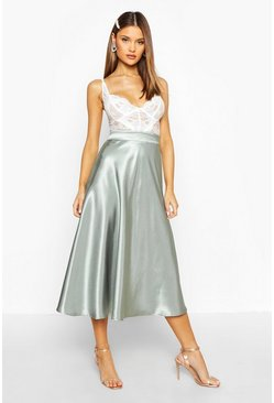 Womens Sage Satin Full Midi Skirt